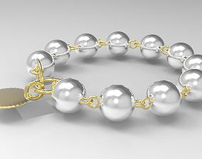 3D model Golden Bracelet with Pearls Low-poly