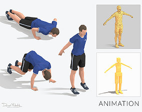 Burpees Exercise Man Animation 3D asset
