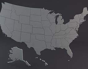 USA States 3D model game-ready