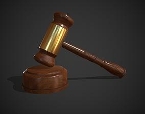 Judge Hammer Golden-Wood 3D asset realtime