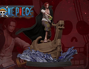 red hair shanks 3d print statue - one piece figurine
