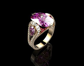 Cushion Pink Sapphire Ring with Diamond 3D print model 2