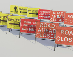3D asset Temporary Traffic Sign - Low-poly PBR