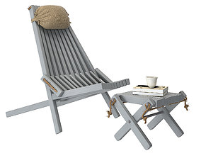 3D model ECO chair with nexkpillow with Lilly foot table