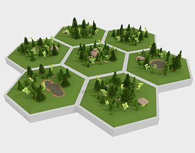 LowPoly Hex World Forest Scene 3D asset VR / AR ready