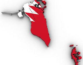 3d Political Map of Bahrain