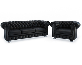 modern 3D model Chesterfield Sofa and Armchair