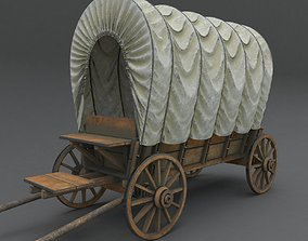 Wooden covered cart 3d model PBR