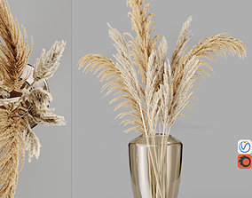 3D model H28 degraded brown glass vase With Cortaderia 1