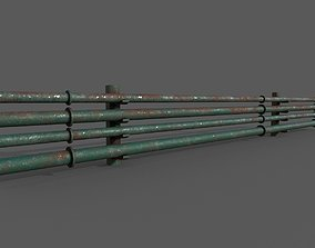 3D model game-ready Industrial Pipes
