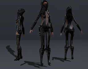 3D asset Female Hooded Ninja Full Character