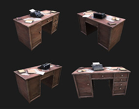 Writer desk with Paper WWII 3D asset