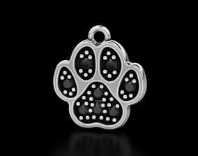 Pendant dog paw with diamonds 570 3D print model