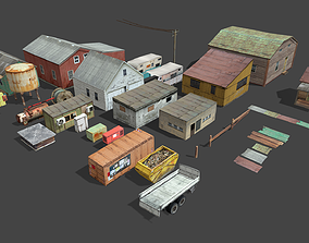 Lowpoly buildings collection 3D model