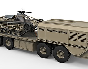 3D model Military truck with GIJOE tracked vehicle