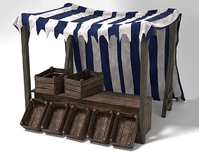 Medieval Market Stall Tent Blue and White 3D game-ready 2
