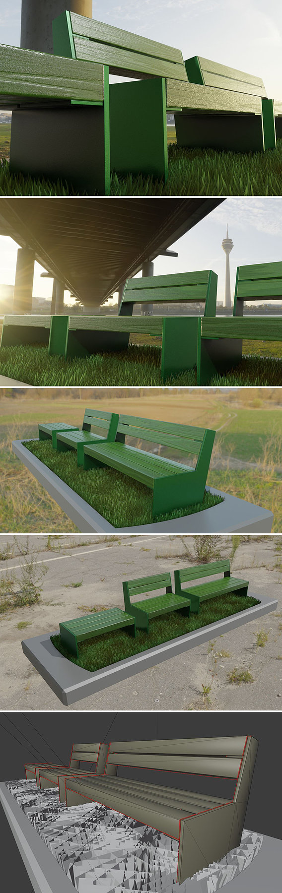Park Bench [8] Green |Low Poly Version|
