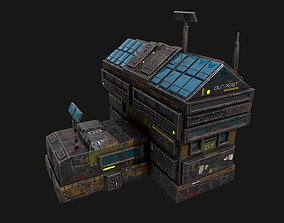 Low poly sci fi colonial outpost building 3D asset