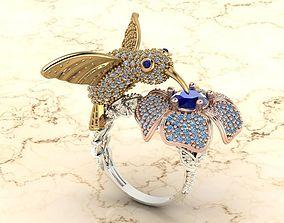 colibri bird ring 3D printable model