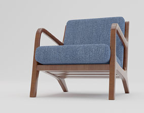 3D asset game-ready Modern wooden chair