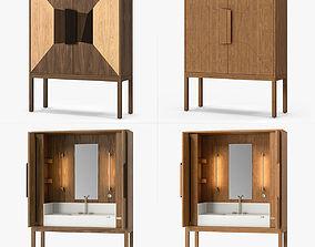 Riva 1920 DeKauri Bespoke Bath Credenza 3D set