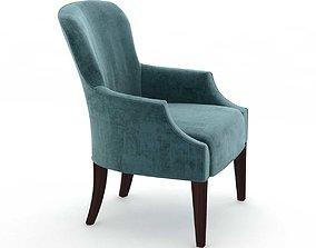 3D Custom made blue velvet wingback armchair
