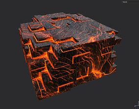 Low poly Lava Temple Block 01 181116 3D model realtime