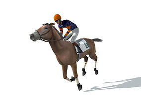 3D model Race Horse and Jockey with LOD