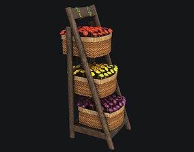 3D model realtime Wicker Basket with Flowers PBR