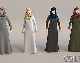 4x Arabic real cloth simulation loop animated 3D model