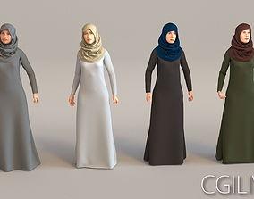 3D model 4x Arabic real cloth simulation loop animated 1