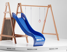 exterior Wooden outdoor swing set with slide 3D model