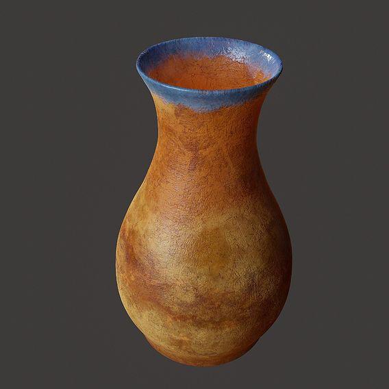 Terracotta Vase Blue Glazed