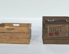 3D model crates wooden