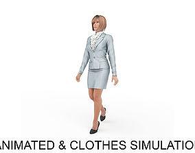 3D office woman elegant walk