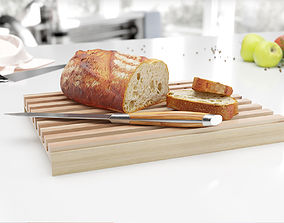 3D Wooden cutting board with bread