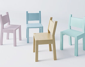 pastel simple Wood kid children chair for classroom 3D