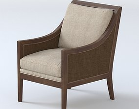 3D Caned Chair with dark brown leather cushions