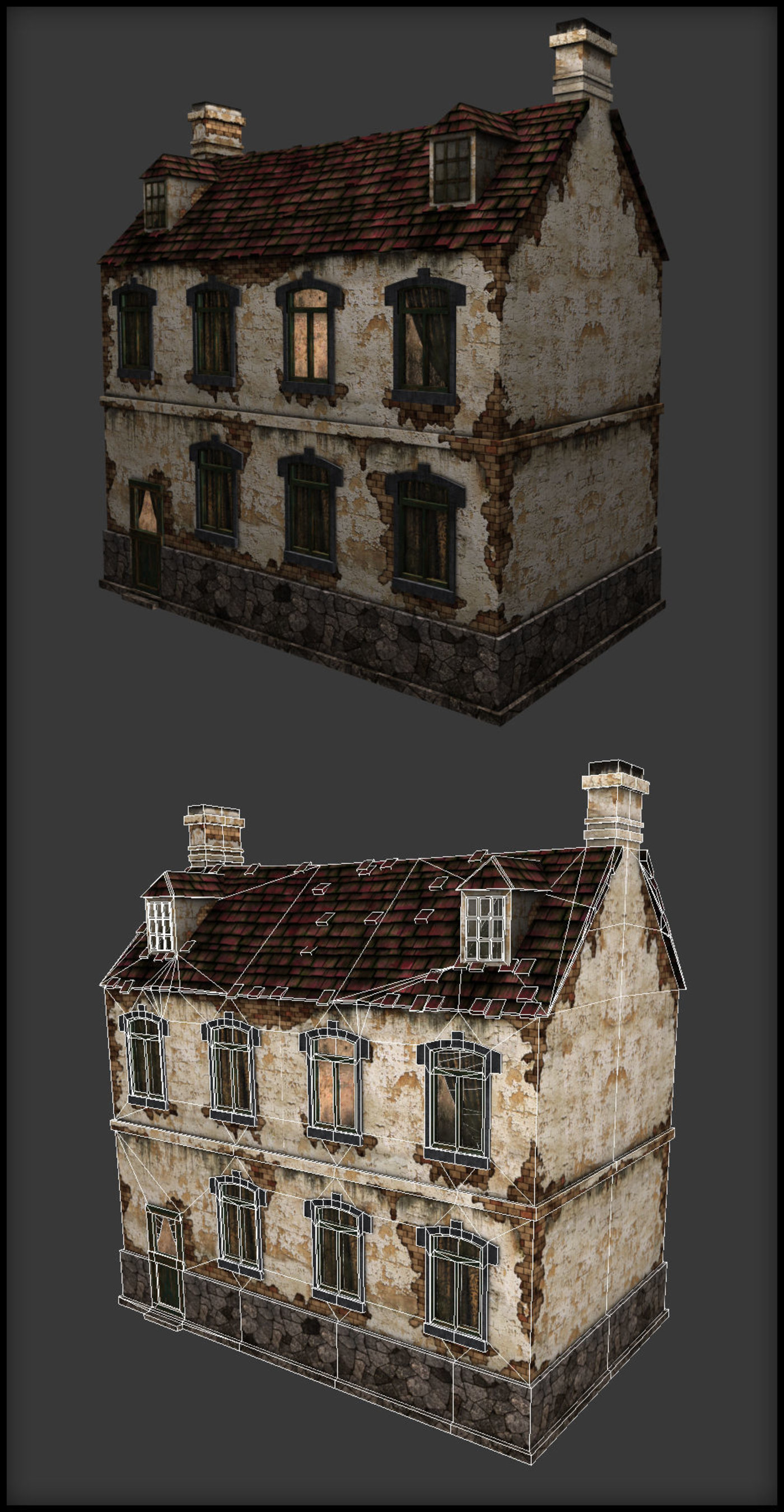 low poly ww2 french house