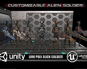 Customizable Low Poly Alien Soldier 3D asset animated