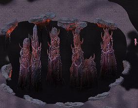 Cartoon hell - wail abyss - pillars 3D