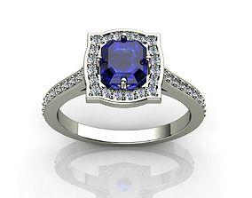 Emerald Cut Diamond Ring 3D print model