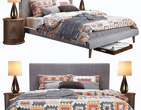 3D model West Elm Mod Upholstered Bed