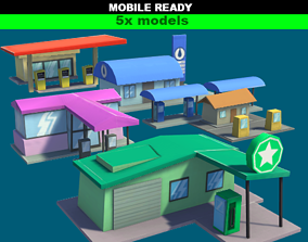 3D asset Gas Stations Cartoon Pack