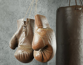 Old leather boxing equipment 3D model