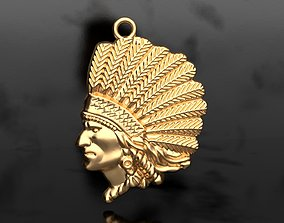3D printable model Native American Indian man pendant