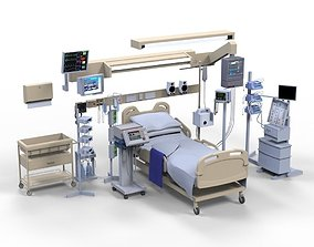 Hospital ward bed 3D asset