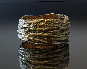 Rough rock texture jewelry ring witn floral 3D print model