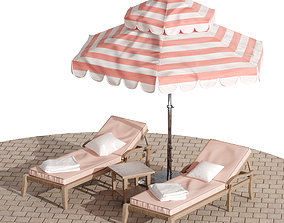 3D model Beach lounge outdoor set 9