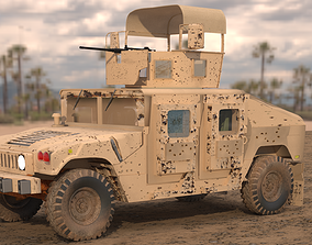 3D asset Armored Humvee with chicken basket